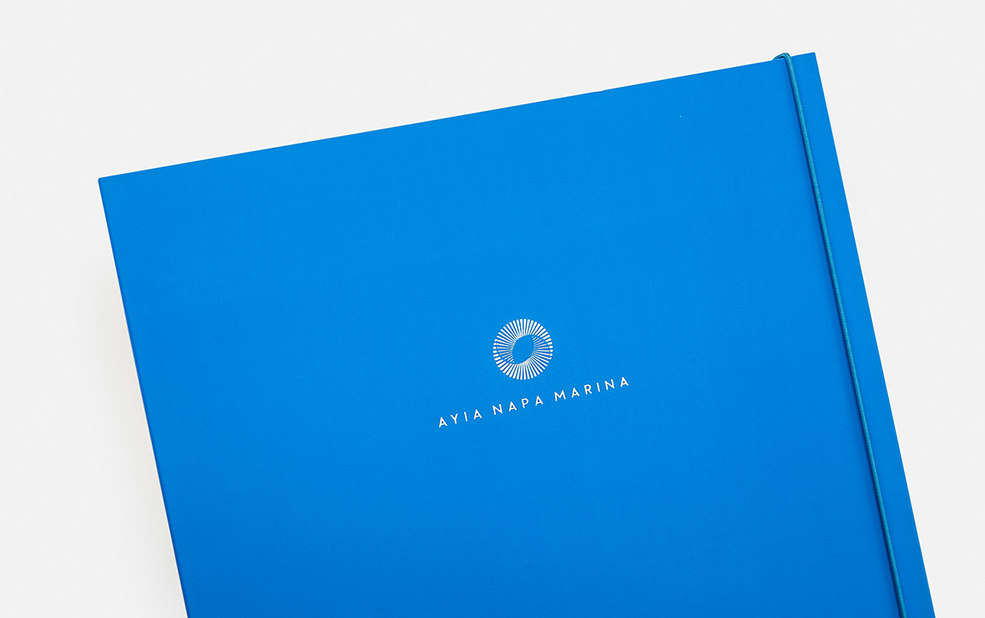 high end folder with interior image and foil stamp – Ayia Napa Marina – Point One Percent