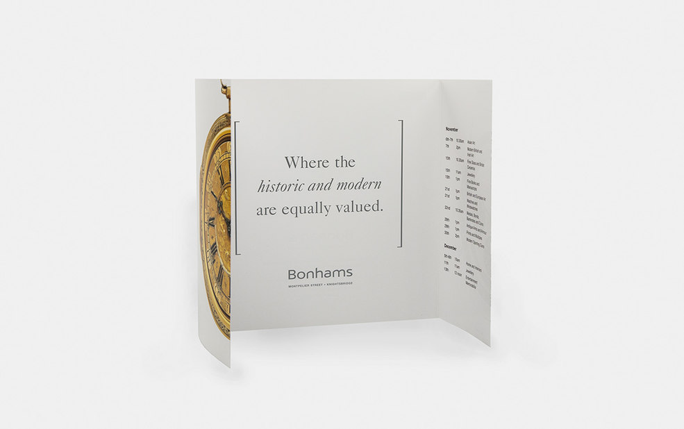 direct mailer tri fold with watches interior – Bonhams – Point One Percent