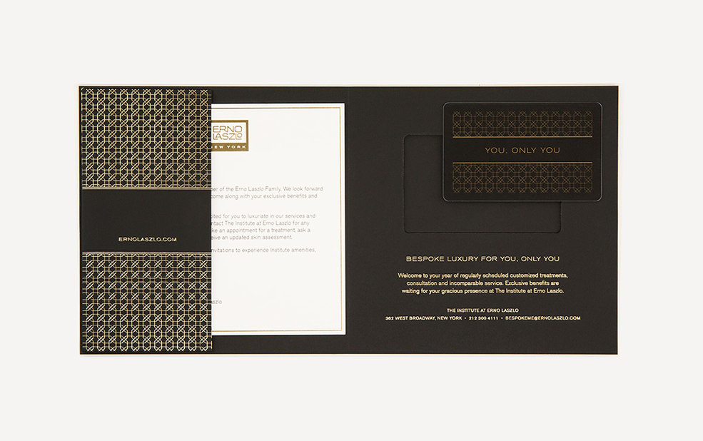 institute collateral with foil stamp and gold foil edge – Erno Laszlo – Point one percent