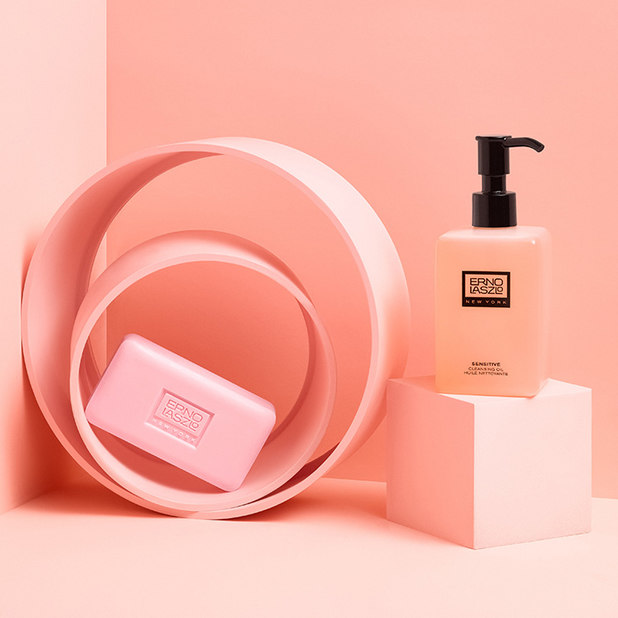 Pink soap and oil stacked on blocks – Erno Laszlo – Point one percent
