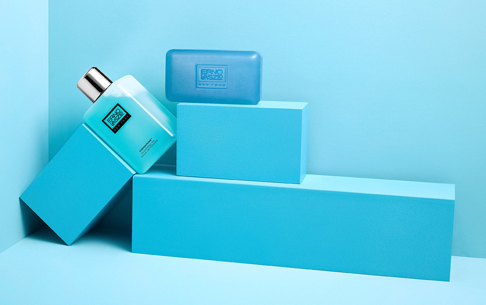 Blue soap and oil stacked on blocks – Erno Laszlo – Point one percent