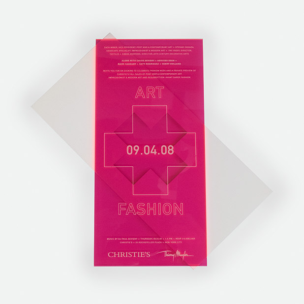 hot pink plexiglass auction invite – Christie's – Point One Percent