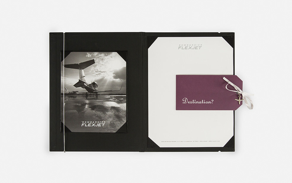 embossed collateral and luggage tag and notebooks – Flexjet – point one percent