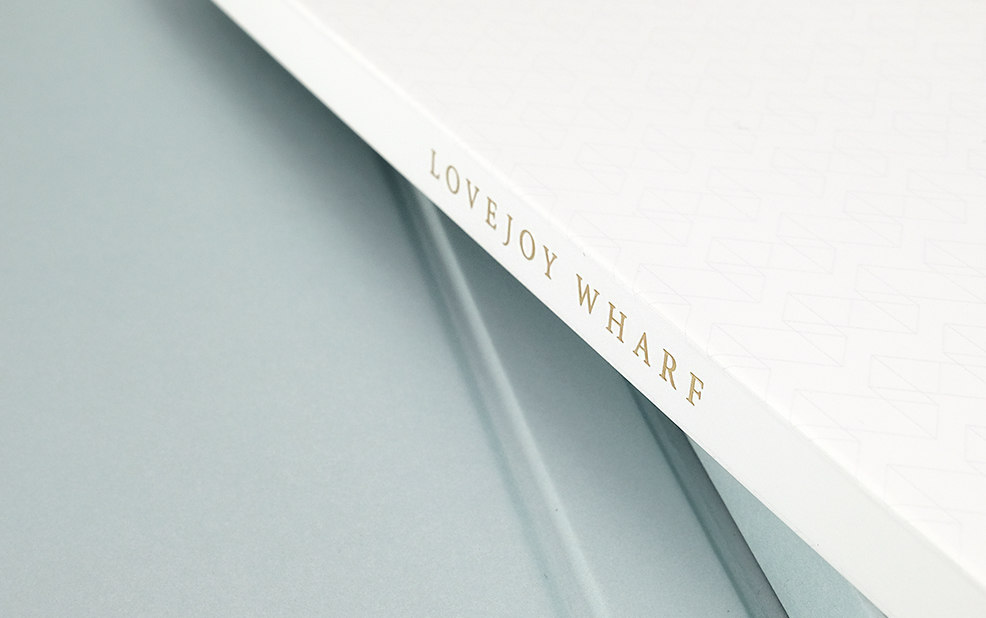 brochure binding with gold foil – Lovejoy Wharf – point one percent