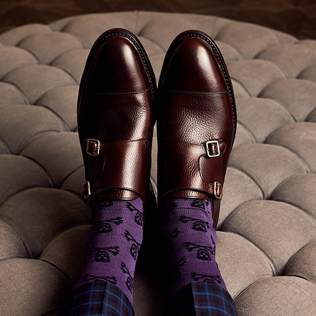 brown leather loafers with purple skull and cross bone socks – New & Lingwood – point one percent
