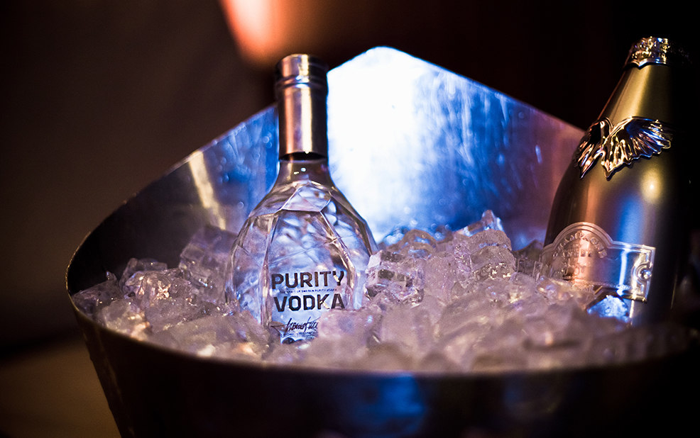 vodka in ice bucket – Purity Vodka – point one percent