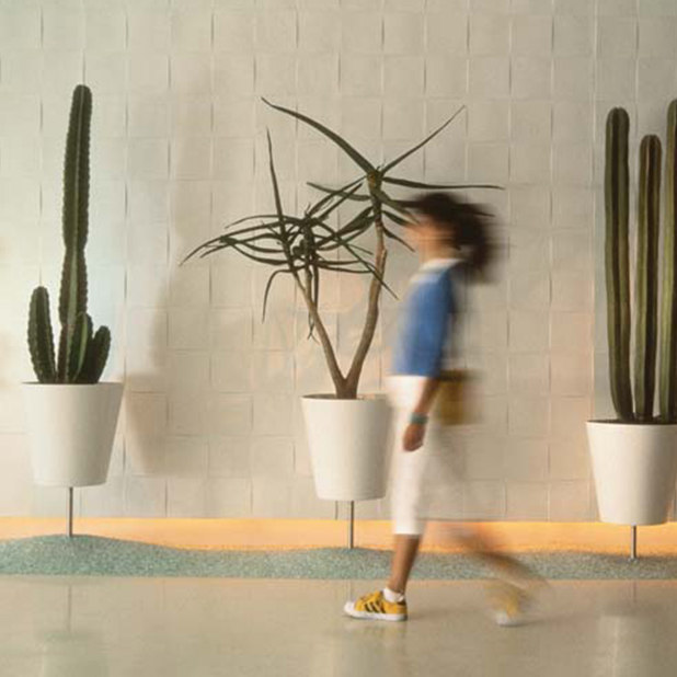 blurred woman walking in lobby with cacti – The Standard – point one percent