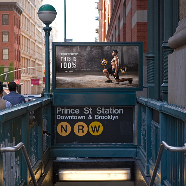 workout and personal training out of home ad on New York City subway – Willspace – point one percent